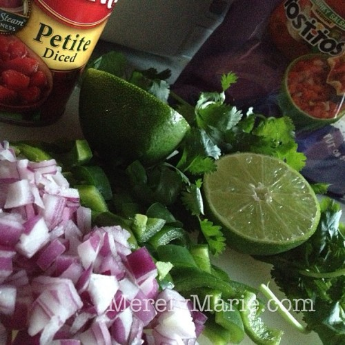 Salsa time! #recipe on the #blog. #fresh #chopped #lime #onion #cilantro #jalapeno #peppers #salsa #superbowl #snack #foodporn #foodblogger #merelymarie