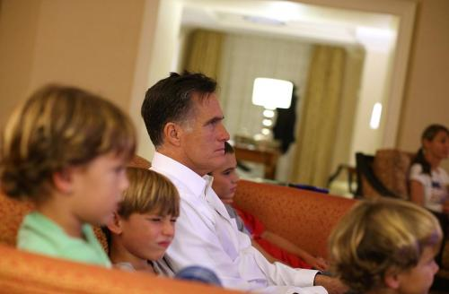 "Willard Mitt Romney offered some thoughts on his grandchildren's names while speaking with Dennis Miller. It's worth unpacking this gem:  ""A few months ago we had twins come in (1), and you can't believe what they're named: Winston and Eleanor (2). [Laughs.] (3) I mean, it's going back to the glorious days of the thirties and forties (4), I guess. But these are just darling little infants, and to have such big names on them is really something, although they call them Ellie and Win … When I heard Winston and Eleanor, I thought, It sounds like two English bulldogs (5), but they're adorable children.""  1. Like from a catalog? Were they having a two-for-one special? 2. Say it with me: ""Willard. Mitt. Romney."" You don't get to poke fun at anyone else's name, Willard, Father of Tagg. 3. ""An old-timey name. Ha ha ha, marvelous!"" 4. Some terms you might have used to describe two decades of war and depression besides ""glorious"": traumatic, agonizing, brutal. 5. Okay, this is true and adorable. You win this round, Willard. Photo by Justin Sullivan/Getty Images News/Getty Images"