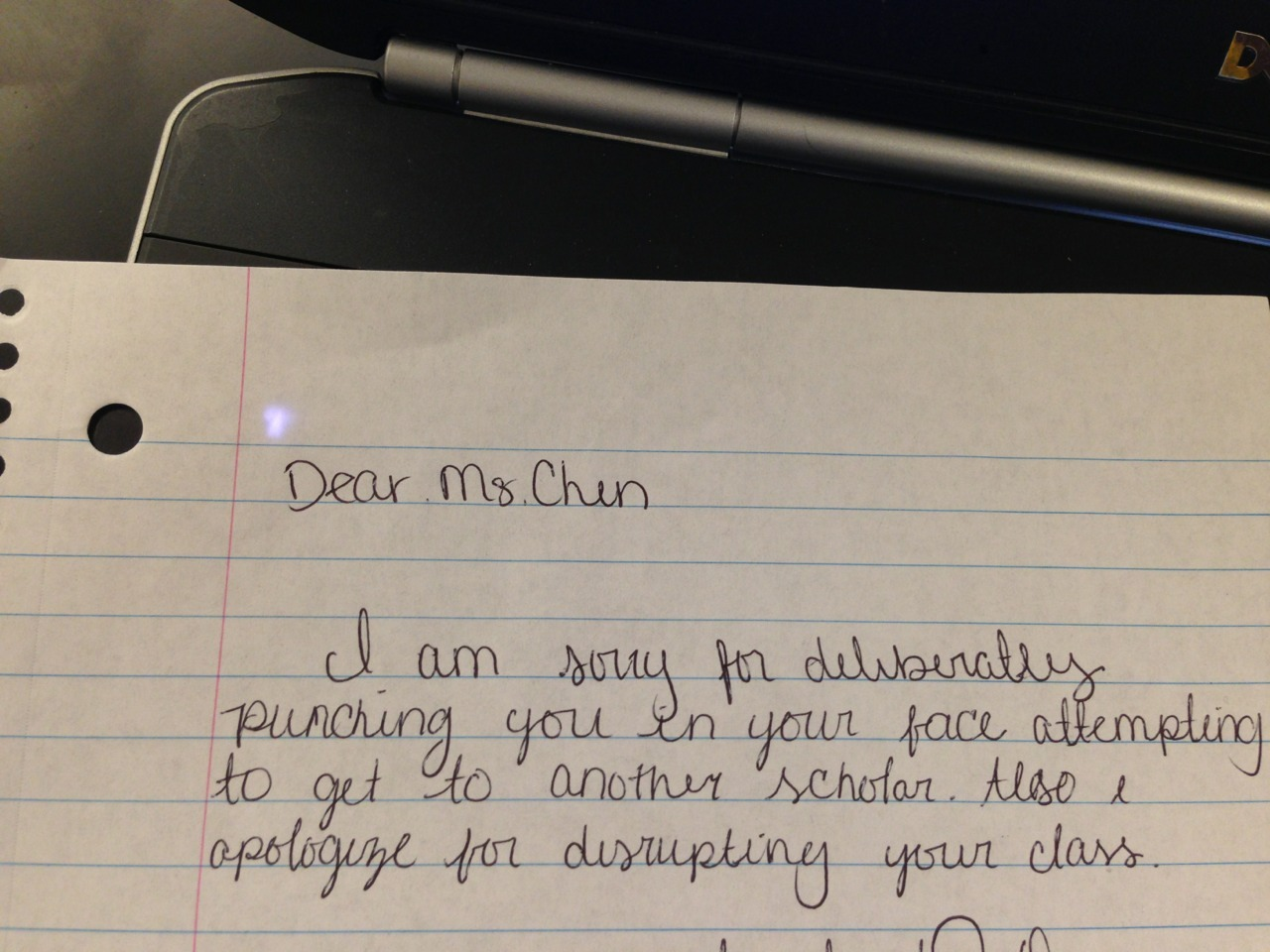 detroitsomething:  An apology letter from a student to a fellow teacher.