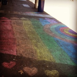 Remembering chalk rainbows for light and love, not hurt and heartbreak. #DYIrainbow