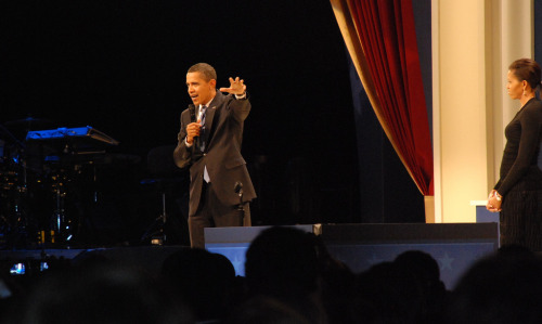 Inauguration 2009, Staff Ball.President Barack Obama addresses campaign staff at the Staff Inaugural Ball, with Jay-Z's drum kit to his right and First Lady Michelle Obama to his left. Photo by Corey DenisJanuary 2009Camera: Nikon D80
