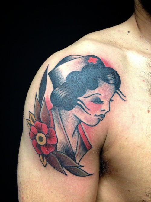 Pin up Traditional Tattoo by Dap Skingdom Tattoo Shop