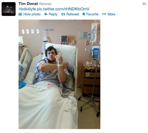 Tim Donst got his stomach pumped to remove some swallowed hair. Tim Donst then decided to cut a promo from his hospital bed AND grace us with this photo. Basically what I am telling you is, Tim Donst is one of my favorite wrestlers for these  very reasons.