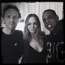 Jay-Z backstage at the Mrs Carter show in London with Chris Martin and Stella McCartney.