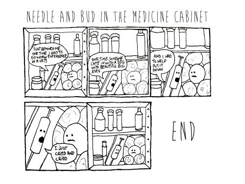 mj-wells:   An overheard bus conversation in comic form. Spoken by a cotton bud and a syringe in a medicine cabinet   Ha, this is pretty good :) Do you often do comics ? Reblog a link over or something…