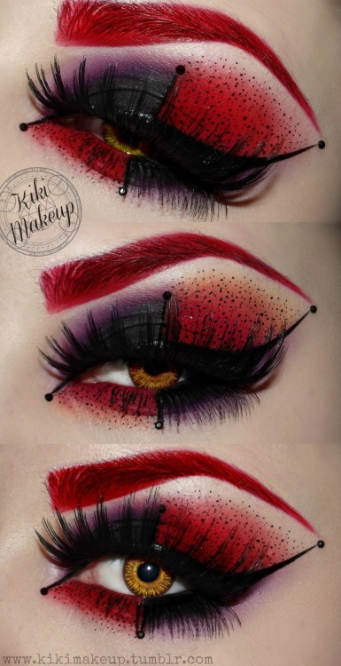 kikimakeup:  Inspired eye makeup from Batman's Harley Quinn.