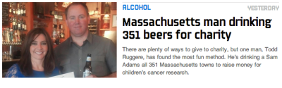 MASSACHUSETTS MAN DRINKING 351 BEERS FOR CHARITY