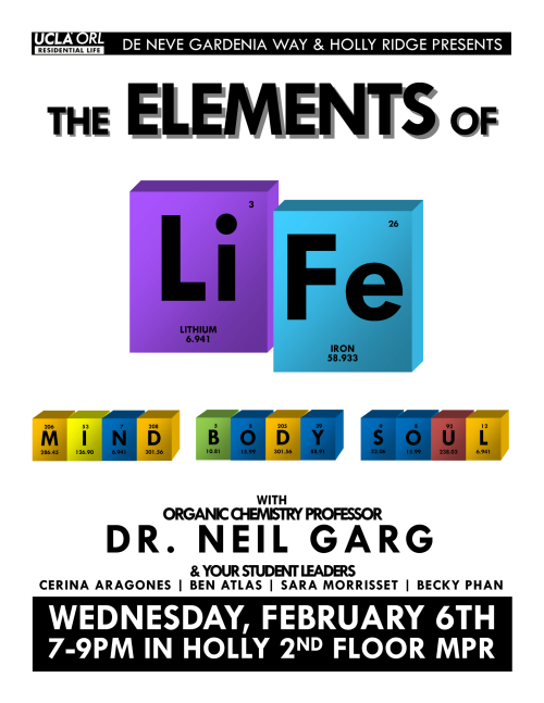 Elements of Life: Mind, Body, & Soul Wed., Feb. 6 from 7-9pm in the HMPR Free food, blue books, & great tips to studying better, de-stressing, and doing good (: