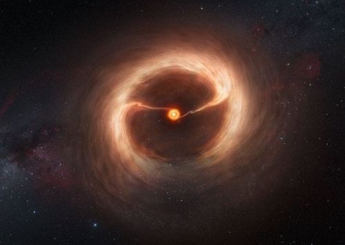 An artist's impression shows the disk of gas and cosmic dust around the young star HD 142527, as observed by astronomers using the Atacama Large Millimeter/submillimeter Array (ALMA) telescope in Chile. They have witnessed vast streams of gas flowing across the gap in the disc, the first time we've seen the  stages of a star being born. Read more about it here.