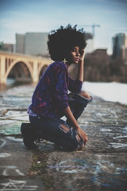 blackfashion:  Long sleeved shirt: thrift store, pants: made myself Destiny, 22, VA haveitupdez.tumblr.com IG: ohwawa Photographed by: Darryl Hall Jr
