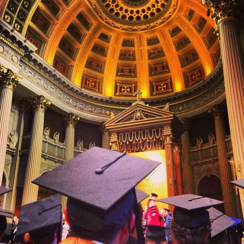 My view of graduation yesterday!! Hehhe ⛪ (at St. Ignatius Catholic Church)