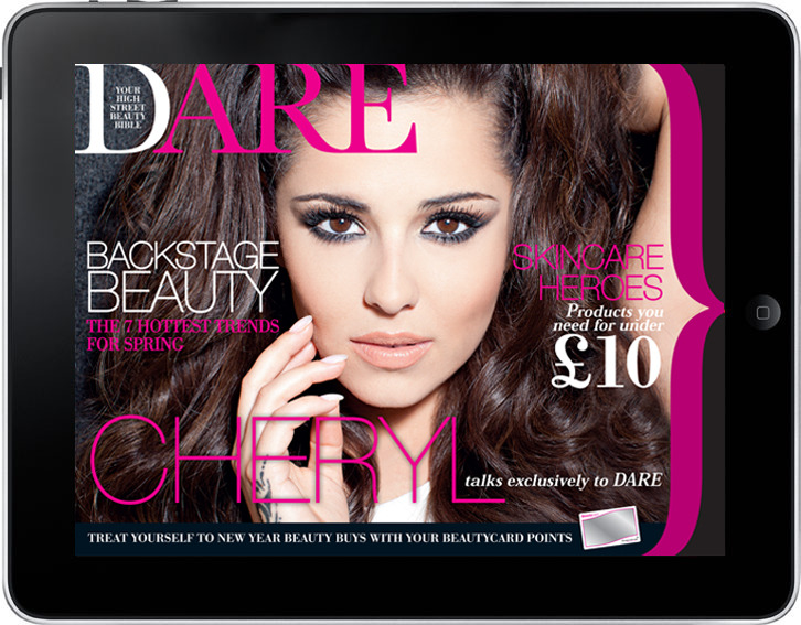 DARE magazine The Jan/Feb 2013 issue of DARE magazine is available to pick up FREE in Superdrug stores. The digital version I designed is also free to download from the App Store or online here.
