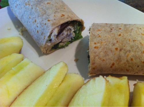 Lunch: whole grain wrap with arugula, spinach, chicken, dried cherries, and feta; plus an apple. :)