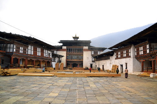 Wangdue Phodrang Dzong, a 4-century-old fort under major conservation at the time of my visit (February 2012), is no more. The fort was burned to the ground later in June. Bhutan, 2012.