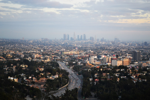 View of Downtown Los Angeles. Muholland Drive. March 3rd, 2013. [I took this shot yesterday while driving with a friend. I still marvel at all the beautiful views there are of LA. I also thank God for giving me a chance to see them for myself.]