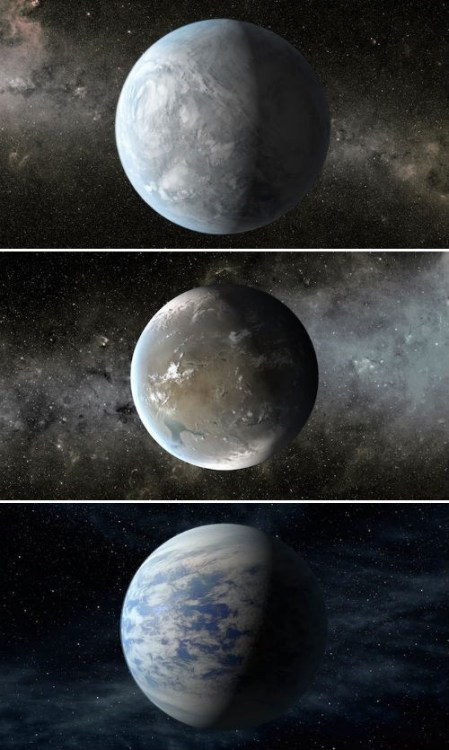 thedailywhat:  Space News of the Day: Three Exoplanets May Be Life-Sustainable After four years circling space looking for new planets, the Kepler spacecraft has identified three planets that look like they could possibly sustain life. The first two, known as Kepler-62e and Kepler-62f (shown above, top and middle), are approximately 1,200 light-years away and have estimated temperatures of -3 degrees C (26.6 F) and -65 degrees C (-85 F) respectively. The third planet, Kepler-69c (shown above, bottom) boasts a summer day-like temperature of 27 degrees C (80.6 F). Some scientists think these planets could actually be covered in oceans, but they are unsure if they would be composed of water or some other liquid.