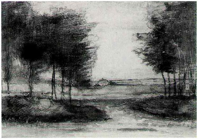Vincent van Gogh Watercolor, Black chalk, and ink  Drenthe:  1883 Private collection