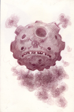 A friend suggested that I draw a Koffing. It was described as a weird volcano ball with a head full of messed-up teeth and puffs of gas coming out of the craters.