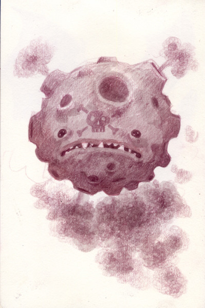 pokemonfromemory:  A friend suggested that I draw a Koffing. It was described as a weird volcano ball with a head full of messed-up teeth and puffs of gas coming out of the craters.
