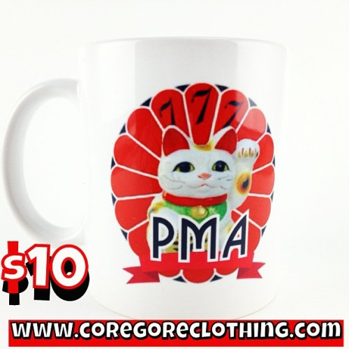 'PMA-Cat' mugs back in stock! Only $10 at www.CoreGoreClothing.com #SxE #PMA #Horror & #HxC