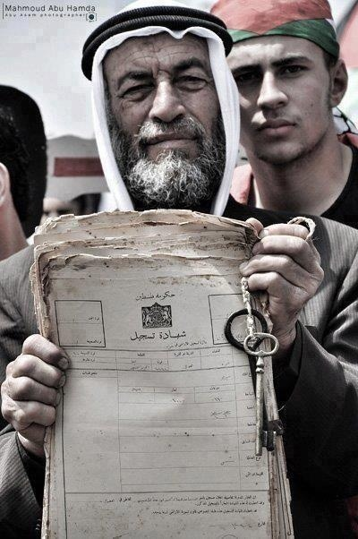 exiledarab:  Palestinian man carrying ownership documents for his property.