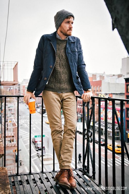 stayclassic:  March 21, 2013.  Jacket: Gap - Buffalo Exchange - $25 (similar)Sweater: Topman - $80 (similar)Shirt: J. Crew Factory - $29Jeans: American Eagle - $26Boots: Dune - Topman - $120 (similar)Beanie: Topman - ~$12Watch: Timex - Amazon - $31Coffee: Mud - $2.50