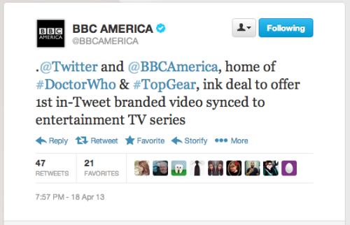 @bbcamerica: @Twitter and @BBCAmerica, home of #DoctorWho & #TopGear, ink deal to offer 1st in-Tweet branded video synced to entertainment TV series Details to come.