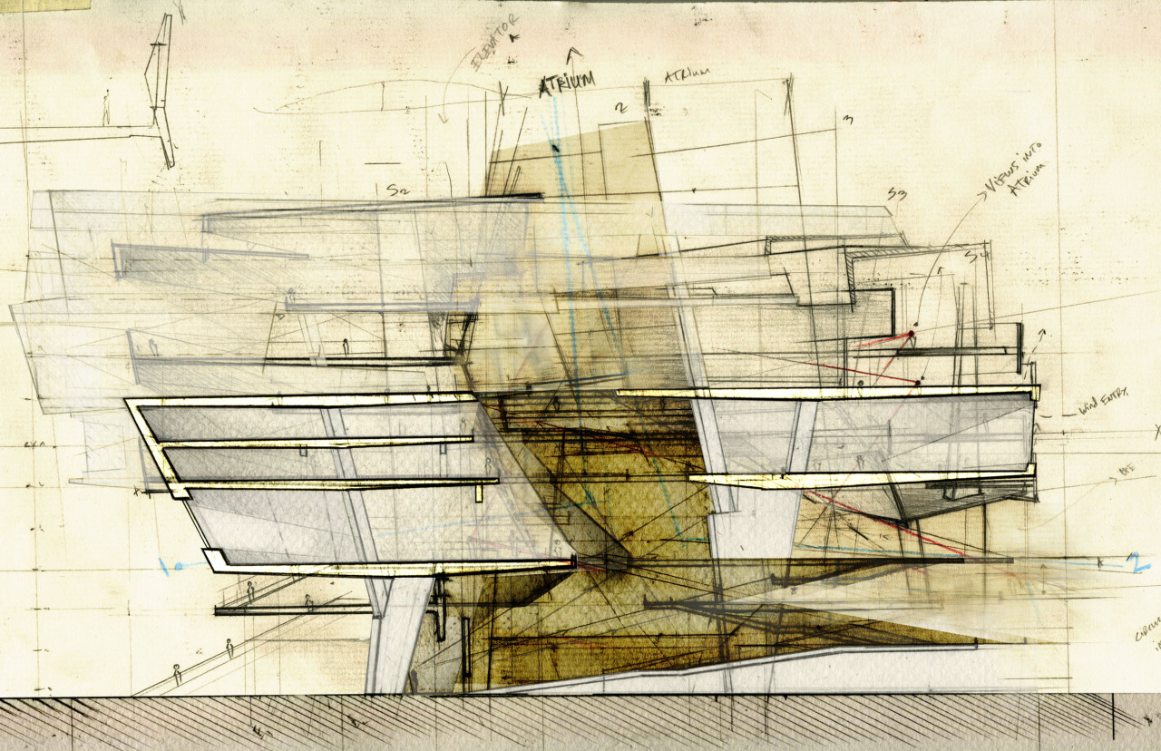 drawingarchitecture:  Buenos Aires Court House Andre Gharakhanian 2012. Mixed Media.