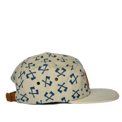 merkwoodclothing:  www.merkwood.com MerkWood 5 panel cap Beige with blue axe print Leather front logo Leather rear strap with brass buckle One size fits all 100% cotton