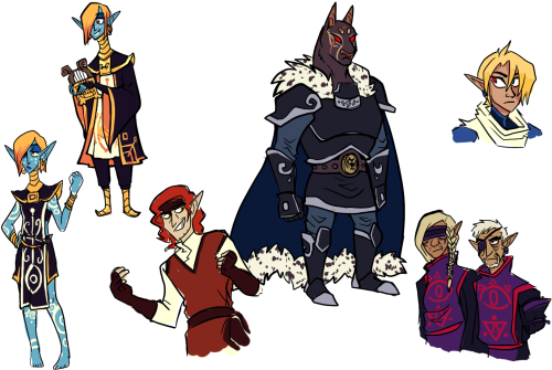 zelda-t7s-fangame:  quick concept doodles of npcs (aside from the inbetween-princess-and-sheik Zelda headshot in the corner. I admit I have no idea how to draw her. it's hard for me to reinterpret something with anime styled art like OOT into my style). some of them are antagonists. some of them are not. I will leave people to speculate. all designs are rough, I just like to draw characters before spriting them so I can figure out an overall feel to their design and what colors I'd like to use. concept art, when posted, will be tagged #concept art in the future in case you don't want to see it and just want to see actual status updates.