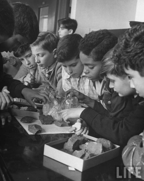 bygoneamericana:  Children studying rocks at an experimental elementary school for gifted children at Hunter College. New York, 1948. By Nina Leen