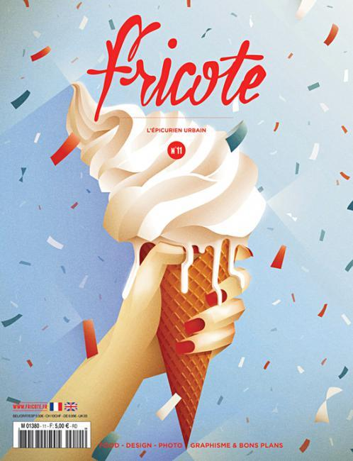 "Fricote (France) Sweet new cover Fricote magazine: ""when you're not food critic or expert, nor cook or chef but you just know when it tastes good, don't feel left out, read Fricote!""Style : Sophie Aprile Editor : DNR"