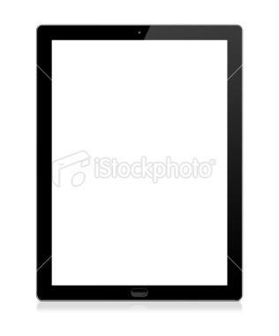 Tablet computer with blank (white) screen. Isolated on white background. Go>