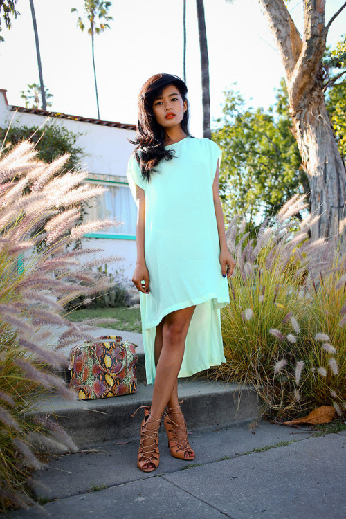 lookbookdotnu:  Sundaze (by Olivia Lopez)  ooo this mint dress is minimalist, light and so pretty. I want her bag and tan.