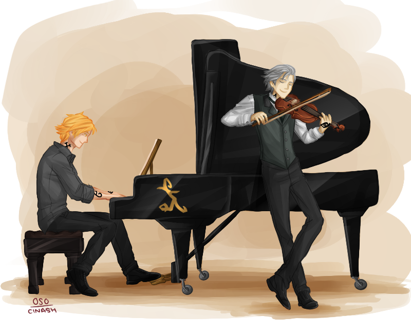cassandraclare:  cinash:  Jace and Jem, the musicians.  (C) Cassandra Clare 0-s-0 cinash   Goes with The Artists of The Shadowhunter Books. Fanart! <3