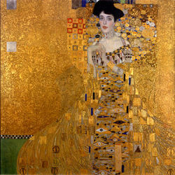 giornijourney:  Gustav Klimt's portrait of Adele Bloch-Bauer is a feast for the eyes.  Silver and gold with hints of greens and red make for a rich palette, and I love the eye motif on her dress.  There's no mistaking that we are in Vienna in the fin-de-siecle: the painting is Freudian in its existence between dreams and reality.  The Byzantine influence also fascinates me - the painting seems ancient and modern all at once.