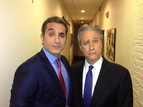 colbertfan:  With Jon after the show. @DrBassemYoussef [x]
