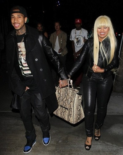 Tyga + Blac Chynaleaving the Rihanna concert in LA on Monday.