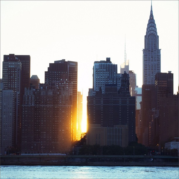 East River and Chrysler Building at sunset.
