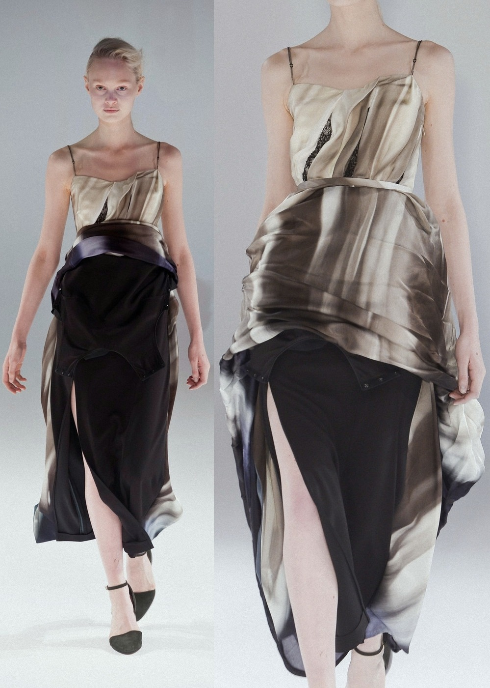 The first of the breathtaking convertible dresses from Hussein Chalayan Fall 2013.
