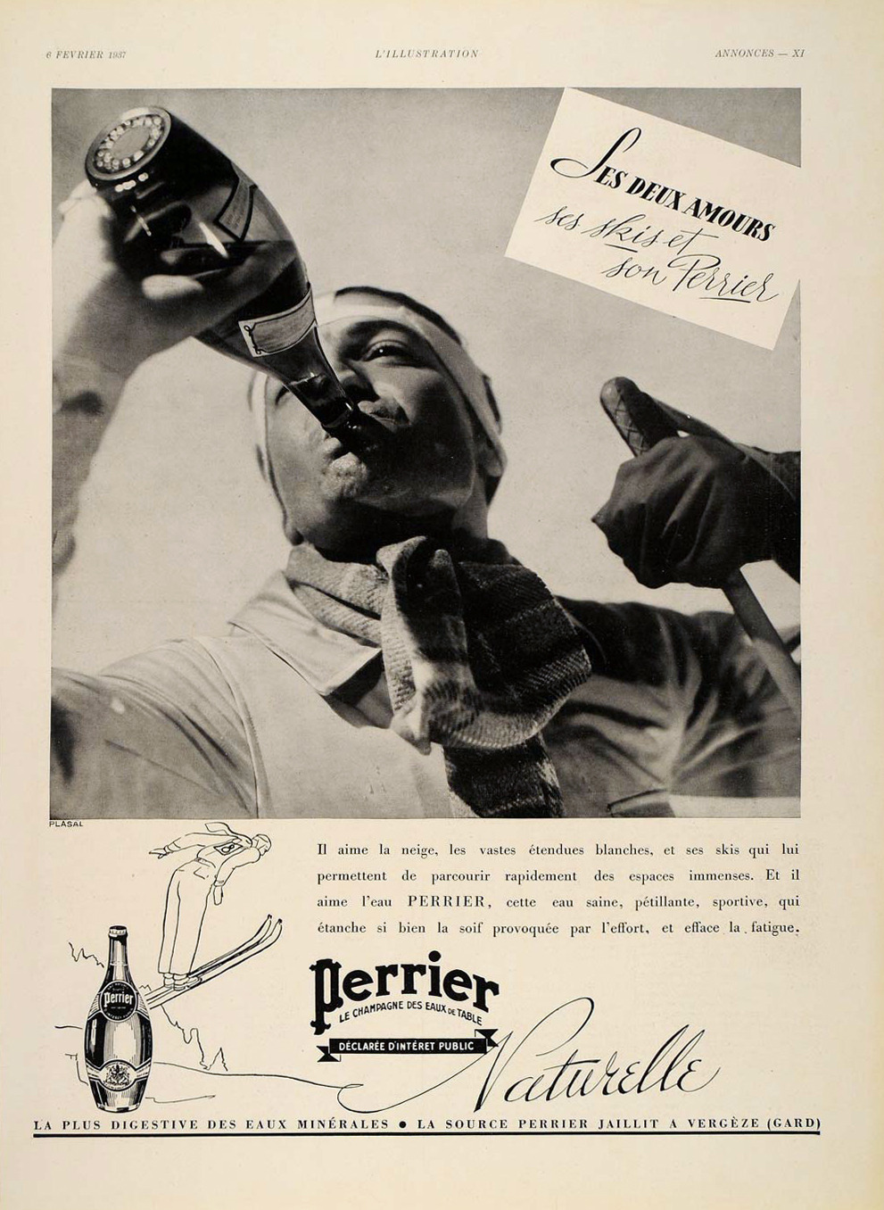 Perrier advertisement from the February 6, 1937 issue of L'Illustration.