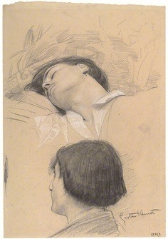 acqua-di-fiori:  Head of a reclining young man, Head lost in profile (Study for Shakespeare's Theater), Gustav Klimt, 1886–87. Albertina, Vienna