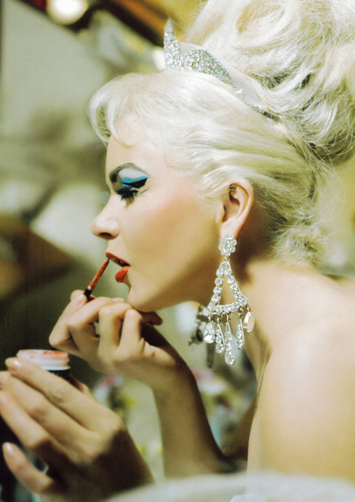 vintagegal: Showgirl gets ready for the Folies Bergere show at the Hotel Tropicana, Las Vegas,1969