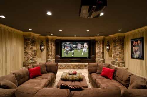 homedesigning:  Media Room Basement Remodel
