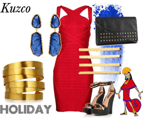 Kuzco Holiday by survivingtwentytwelve featuring crystal hair accessories