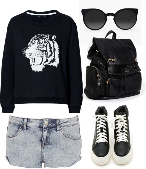 thepolyvorecollection:  Tiger by alyba featuring black high top sneakers