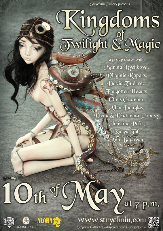 "BLOGGED: Kingdoms of Twilight and Magic Doll Show   The STRYCHNIN Gallery in Berlin, Germany will be holding an exhibit titled ""Kingdoms of Twilight and Magic"" featuring talented doll artists such as Marina Bychkova of Enchanted Doll and the Popovy Sisters. The show will open on May 10, 2013 at 7 p.m."