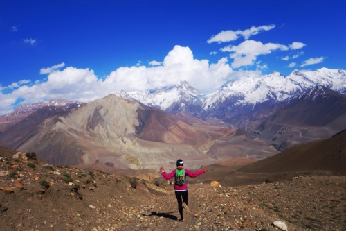 A Nepali runner descends below Thorong La in Upper Mustang.Photo: Bryon Powell