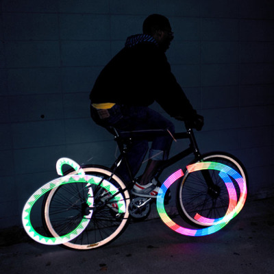 Monkey Bike Lights by MonkeyLectric will add visibility and color to your biking experience.