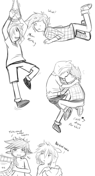 sourbears:  cjs-scribbles:  With this ship I normally draw Finn being the suprised and 'What the hell!?' person. So…I swapped it.  Ahh!! I freaking love you for this! I like this kind of Finn. A lot.